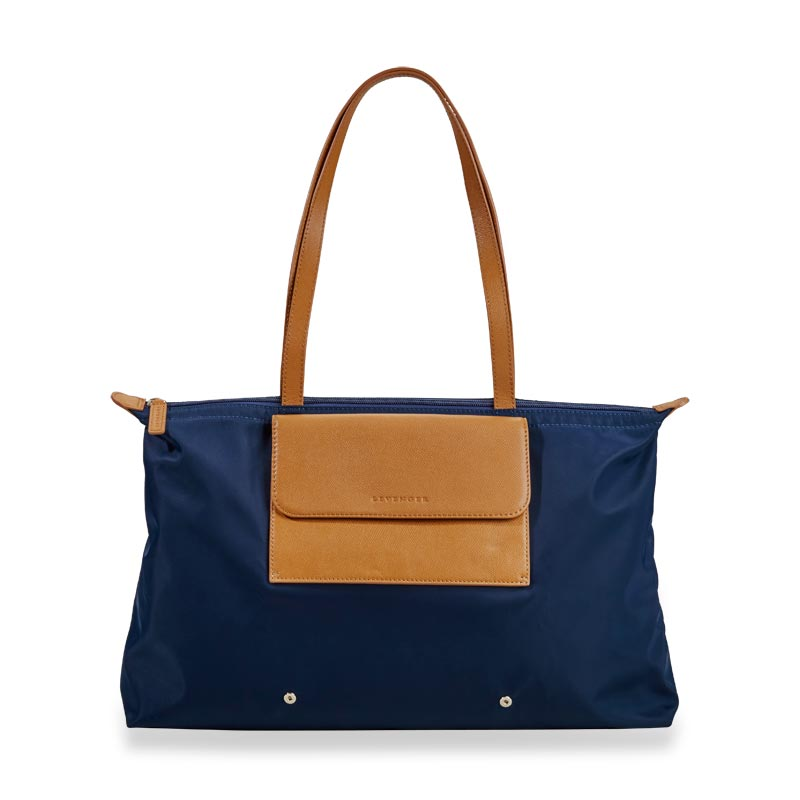 Felicity Foldable Tote - Navy/Tan