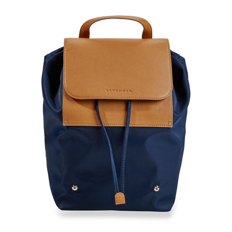 Felicity Foldable Backpack - Navy/Tan