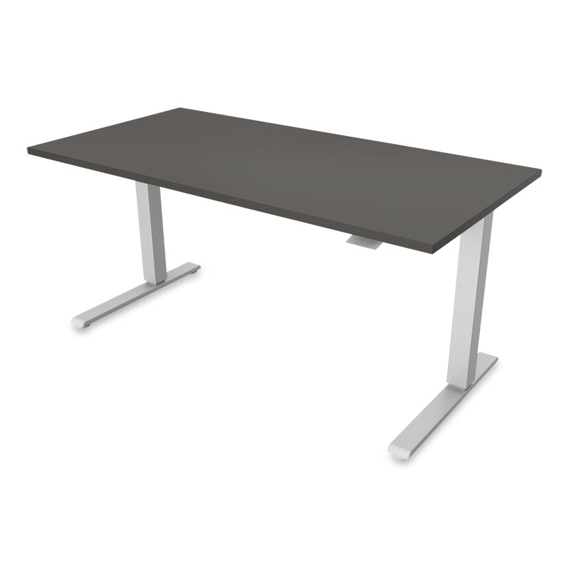 Float Desk, Base Silver Top Grey
