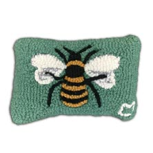 "Honeybee on Green 8"" x 12"" Hooked Pillow"
