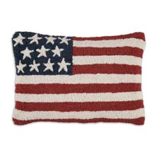 """Stars & Stripes 14"""" x 20"""" Hooked Pillow"""