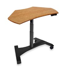 Right Height Corner Desk - Dark Bamboo, Black Base