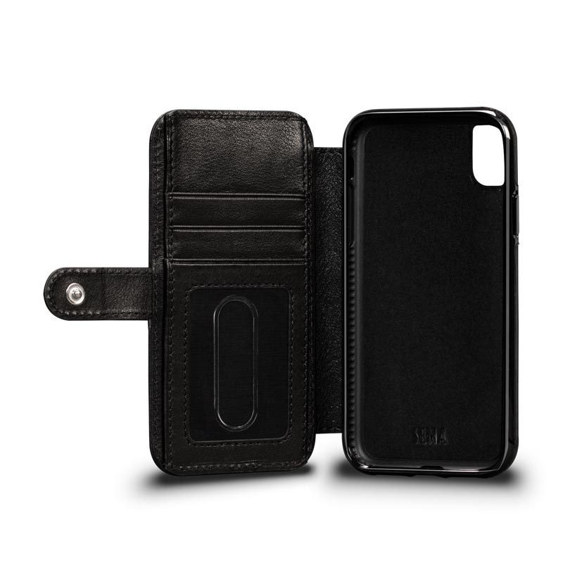 Leather Wallet Book Case iPhone XR - Black