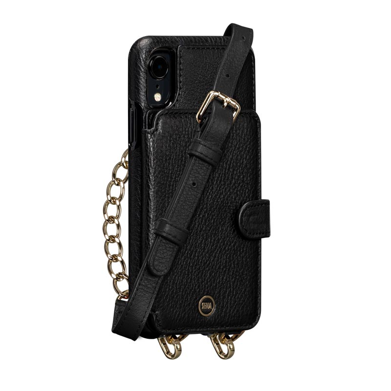 Leather Crossbody Wallet Case iPhone XR - Black