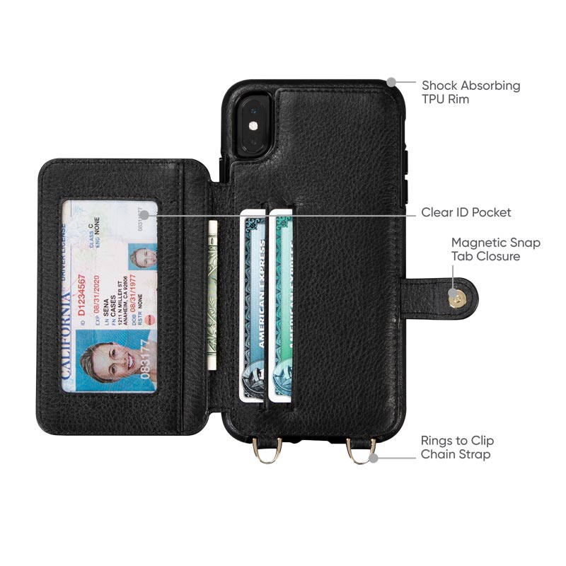 Leather Crossbody Wallet Case iPhone XS Max - Black