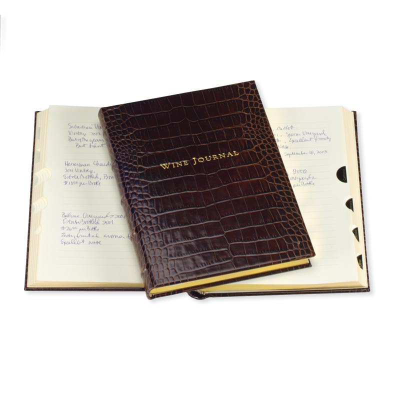 Croc Embossed Leather Tabbed Wine Journal