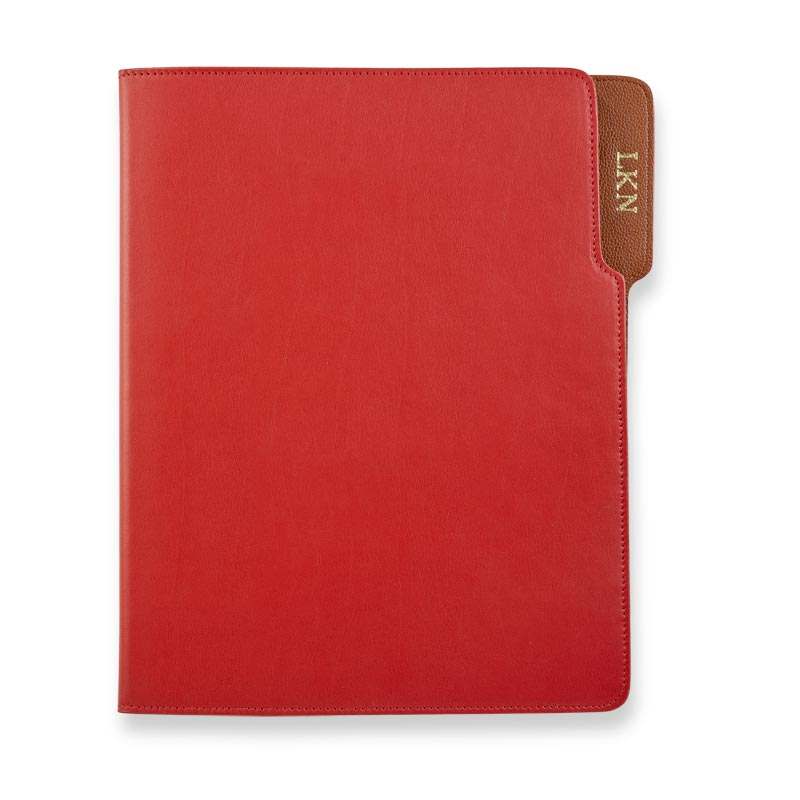 Wall Street Leather Padfolio - Red/Tan