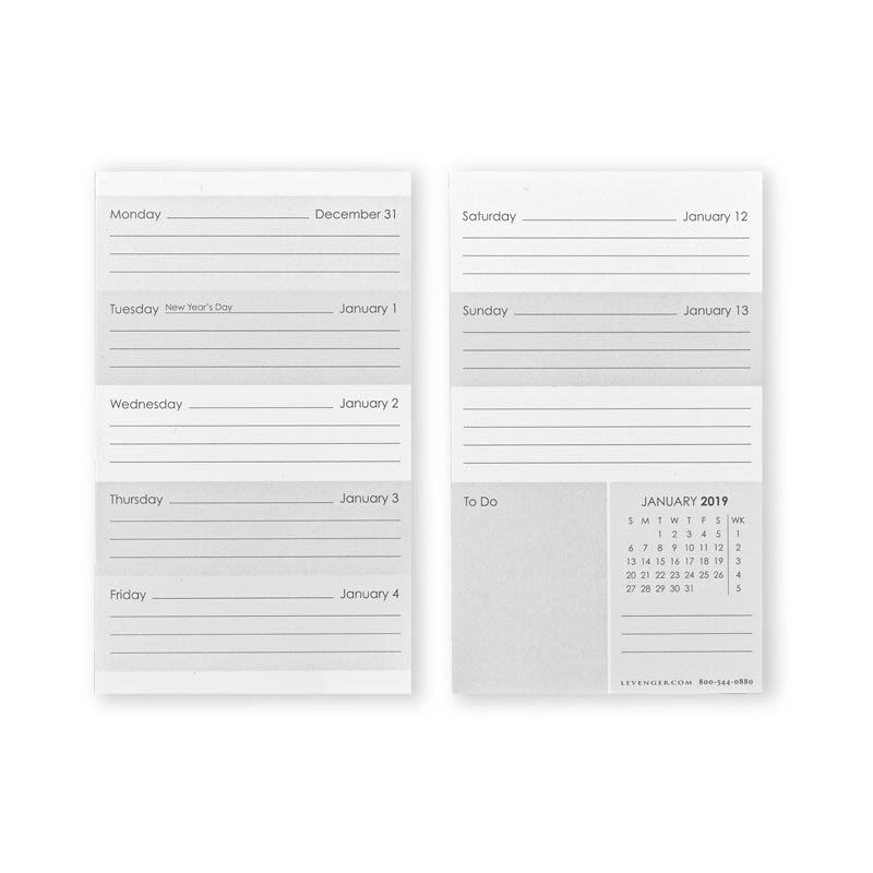 2019 3X5 Weekly and Monthly Calendar Cards