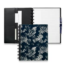 Circa® Floral Bookcloth Foldover Notebook, Navy/Tan