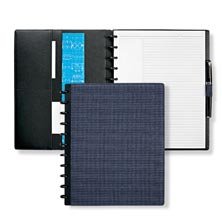 Circa® Houndstooth Bookcloth Foldover Notebook, Navy/Grey