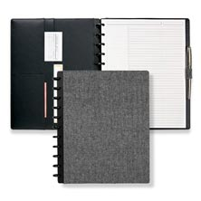 Circa® Herringbone Bookcloth Foldover Notebook, Black/White