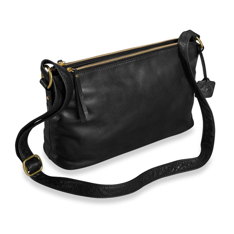 Alexa Double-Zip Handbag - Black
