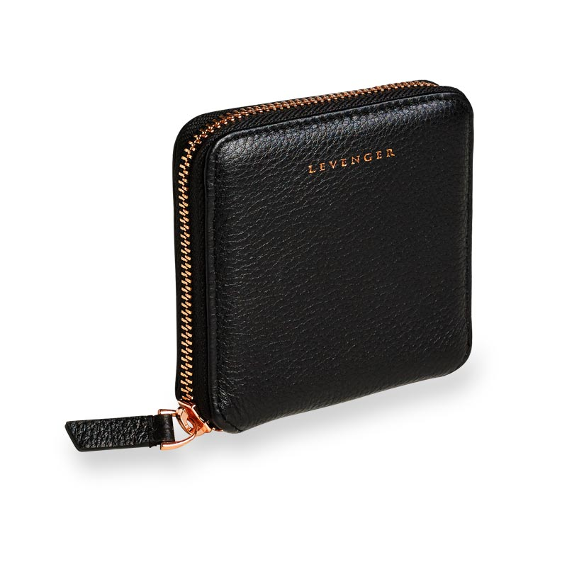 Carrie Coin and Card Wallet, Black/Rose Gold