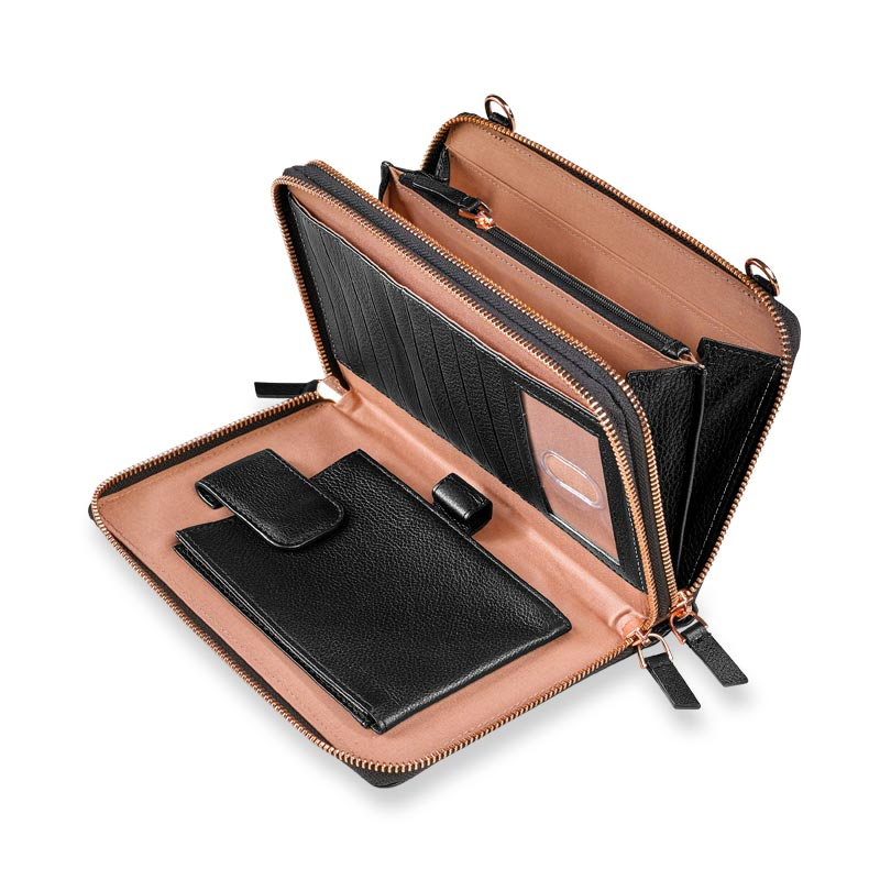 Carrie Convertible Clutch, Black/Rose Gold
