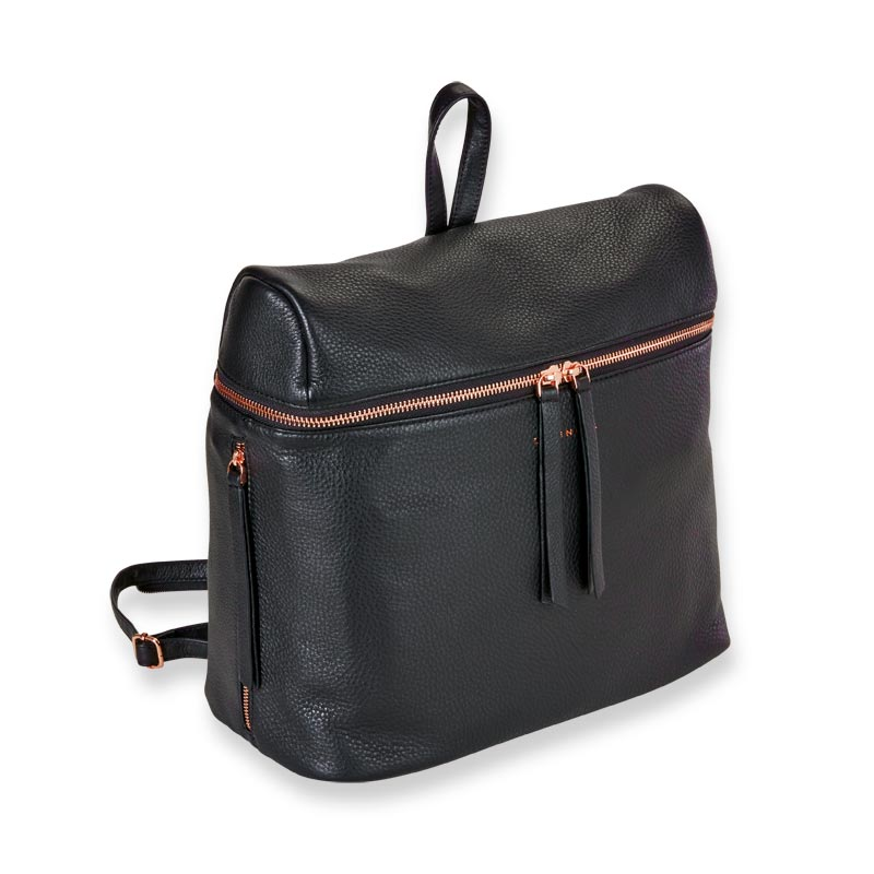 9c4b930f7 Levenger | Carrie Backpack - Black and Rose Gold