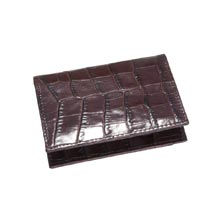 Croc Embossed Leather Foldover Card Case