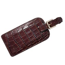 Croc Embossed Leather Luggage Tag