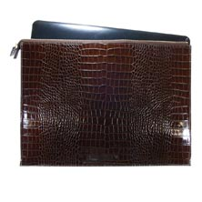 Croc Embossed Leather Laptop Case