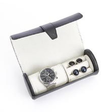 Leather Travel Watch and Cufflink Case