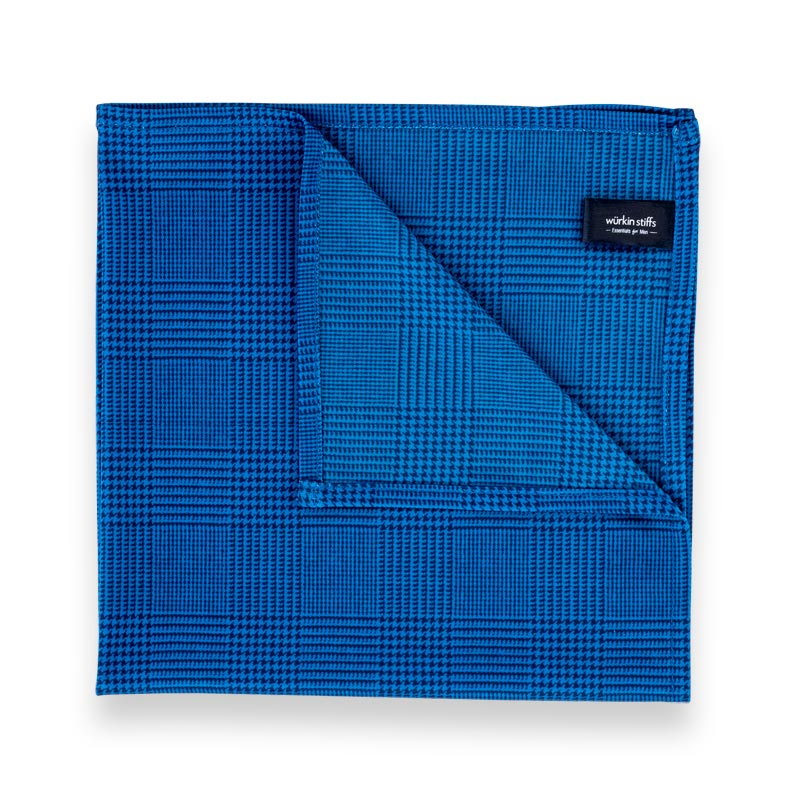 Microfiber Pocket Square - Blue Plaid