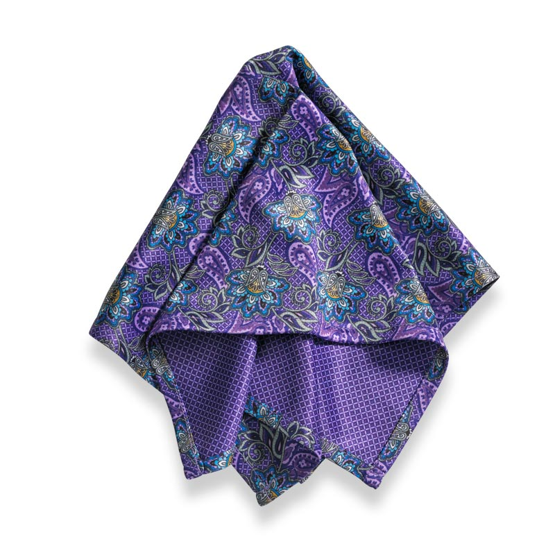Microfiber Pocket Square - Purple Paisley