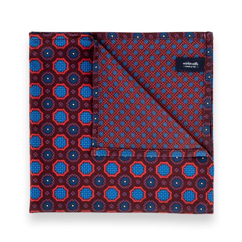 Microfiber Pocket Square - Red Geomeric