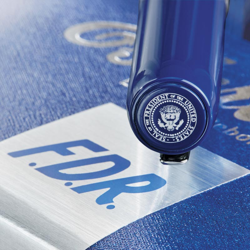 Presidential seal detail on the cap