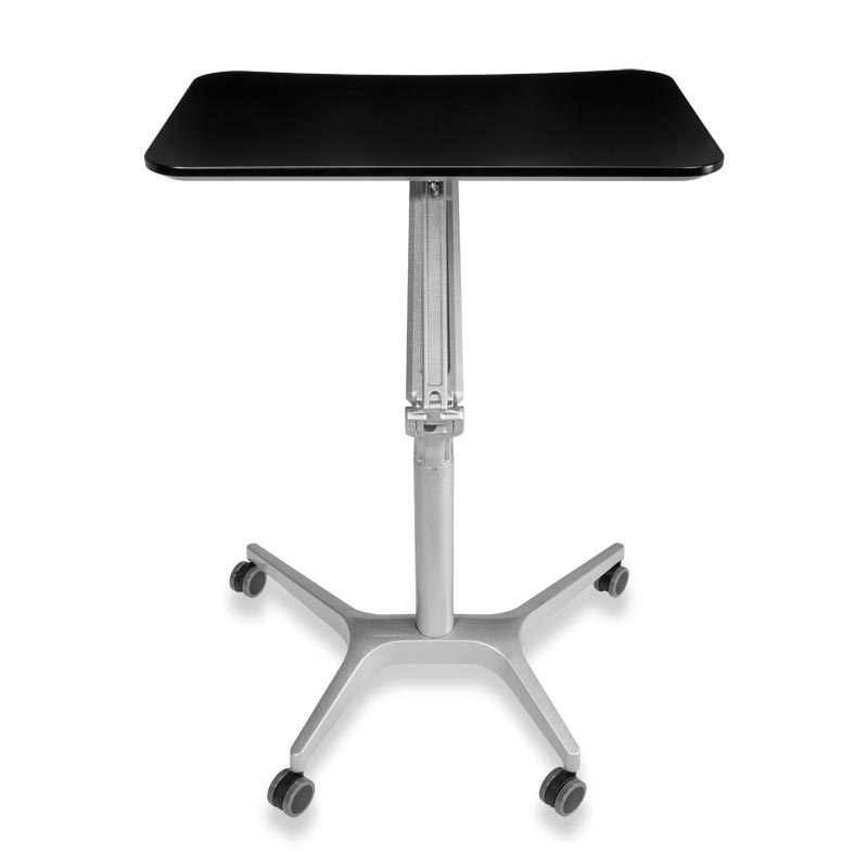 Sit-to-Stand Rolling Workstation 2.0 -  Top Black Base Silver