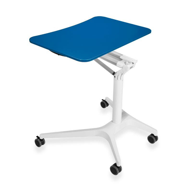 Sit-to-Stand Rolling Workstation 2.0 - Top Blue Base Silver