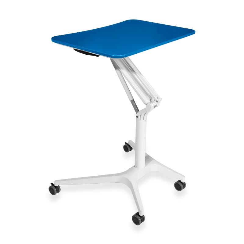 Sit-to-Stand Rolling Workstation 2.0 - Top Blue Base White