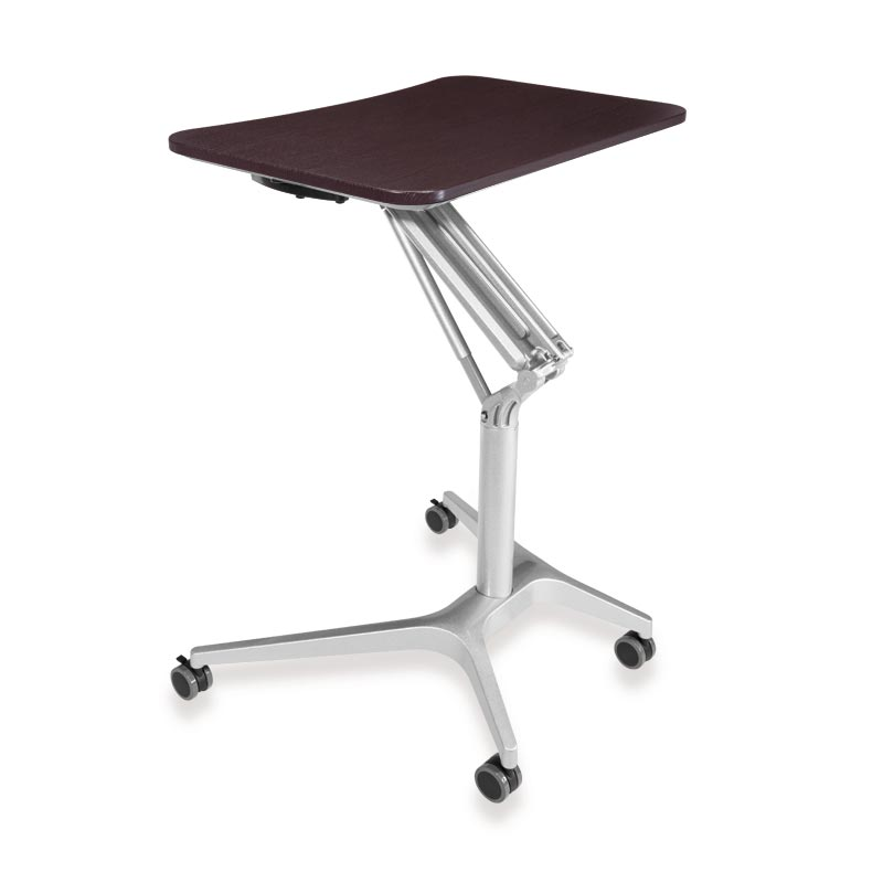 Sit-to-Stand Rolling Workstation 2.0 - Top Espresso Base Silver