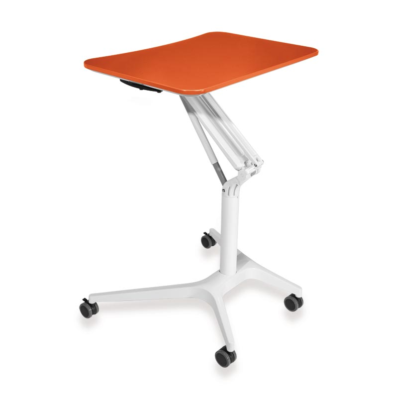 Sit-to-Stand Rolling Workstation 2.0 - Top Orange Base White