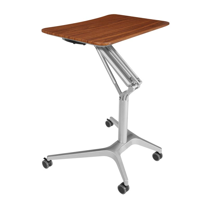 Sit-to-Stand Rolling Workstation 2.0 - Top Walnut Base Silver