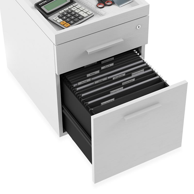 Centro Two-Drawer Mobile File Pedestal - White