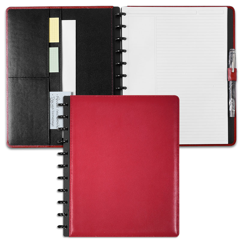Circa Leather Foldover Notebook, Red, Letter