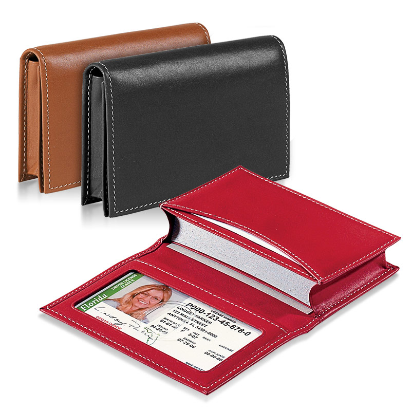 Card wallet business card holder leather card holder card case card wallet saddle black red reheart