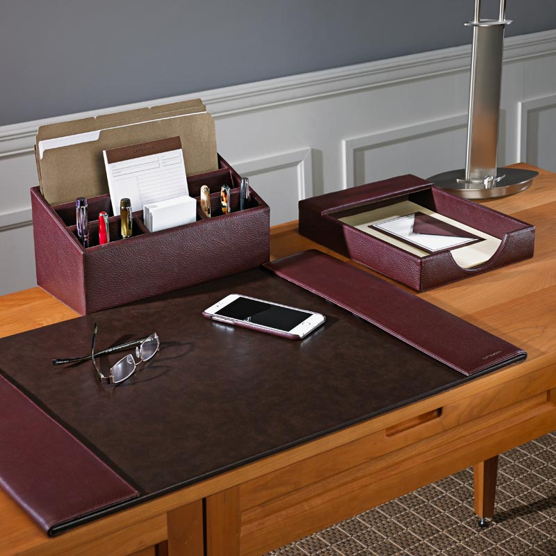 Er Jacket Desk Set Three Pieces Leather Accessories