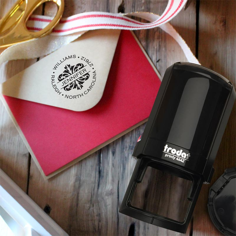 Raleigh Personalized Self-Inking Stamper, Round