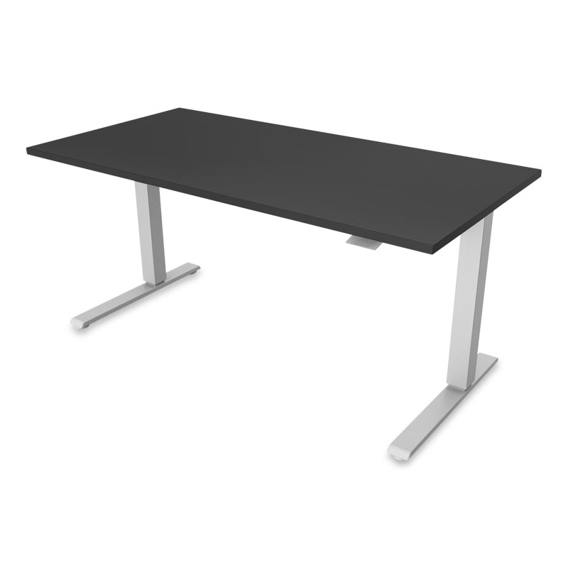 Float Desk, Base Silver Top Black