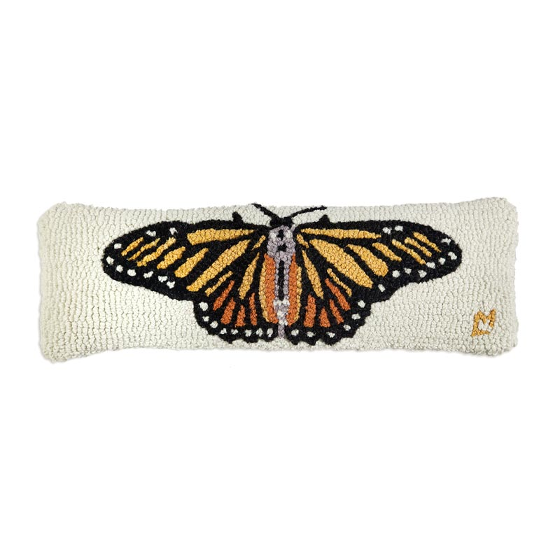 "Monarch Butterfly 8"" x 24"" Hooked Pillow"