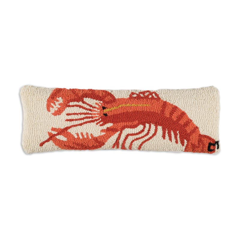 """Red Lobster 8"""" x 24"""" Hooked Pillow"""