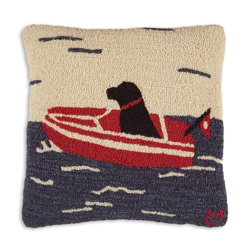"Sea Dog 18"" x 18"" Hooked Pillow"