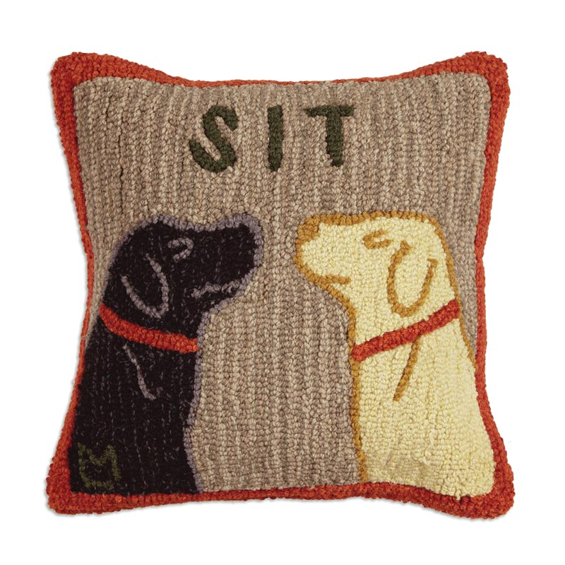 "Sit 18"" x 18"" Hooked Pillow"