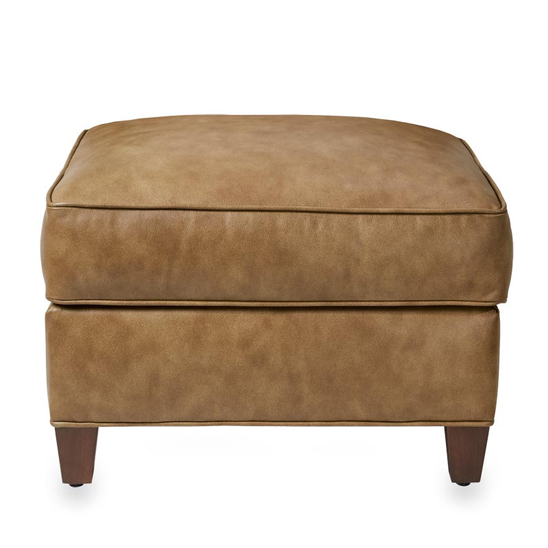 Levenger Leather Cardroom Ottoman - Chestnut Mare