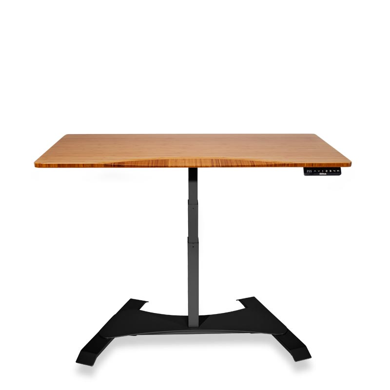 Right Height Rectangle Desk - Dark Bamboo, Black Base