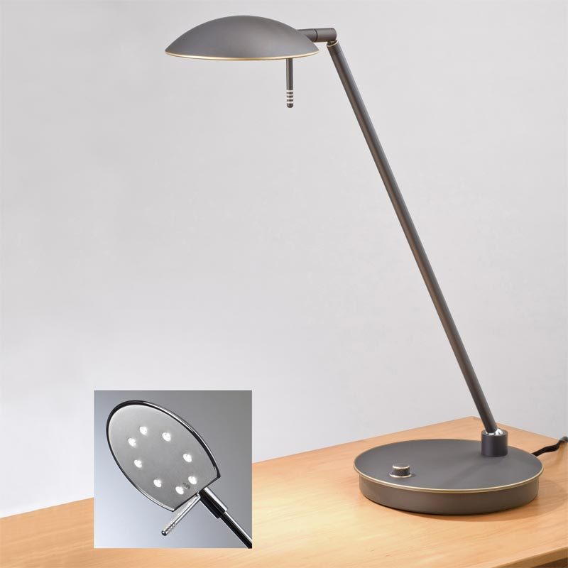 Bernie turbo led table lamp hand finished bronze