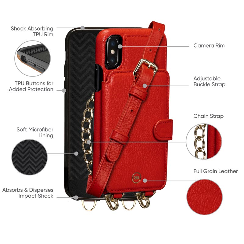 Leather Crossbody Wallet Case iPhone XS
