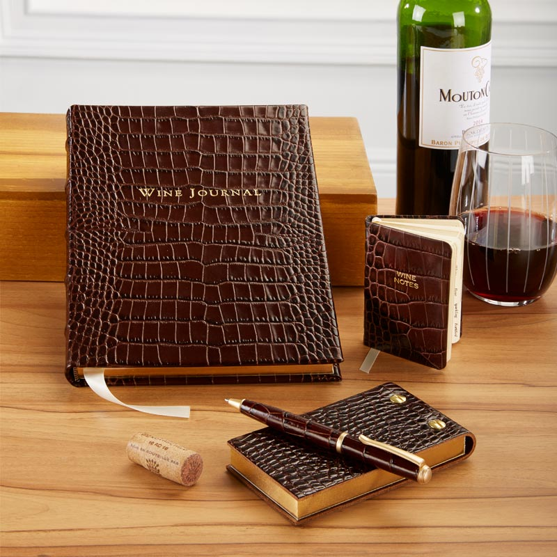 Croc Embossed Leather Mini Wine Notes