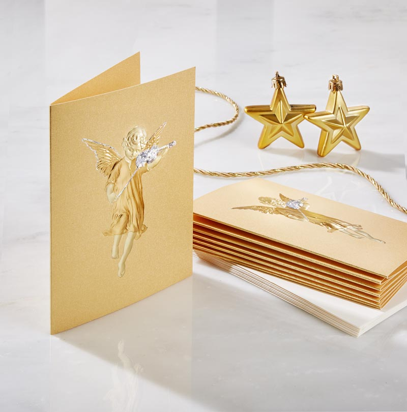 Angel with Violin Holiday Card - Gold