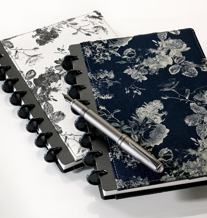 Circa® Floral Bookcloth Foldover Notebook, Black/White